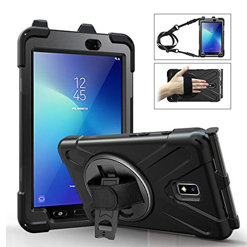 MoKo Case Fit Samsung Galaxy Tab Active 2 8.0, Heavy Duty Shockproof Full-Body Rugged 360 Degree Rotating with Shoulder Strap Stand Cover for Galaxy Tab Active 2 8' SM-T390/T395/T397 Tablet - Black