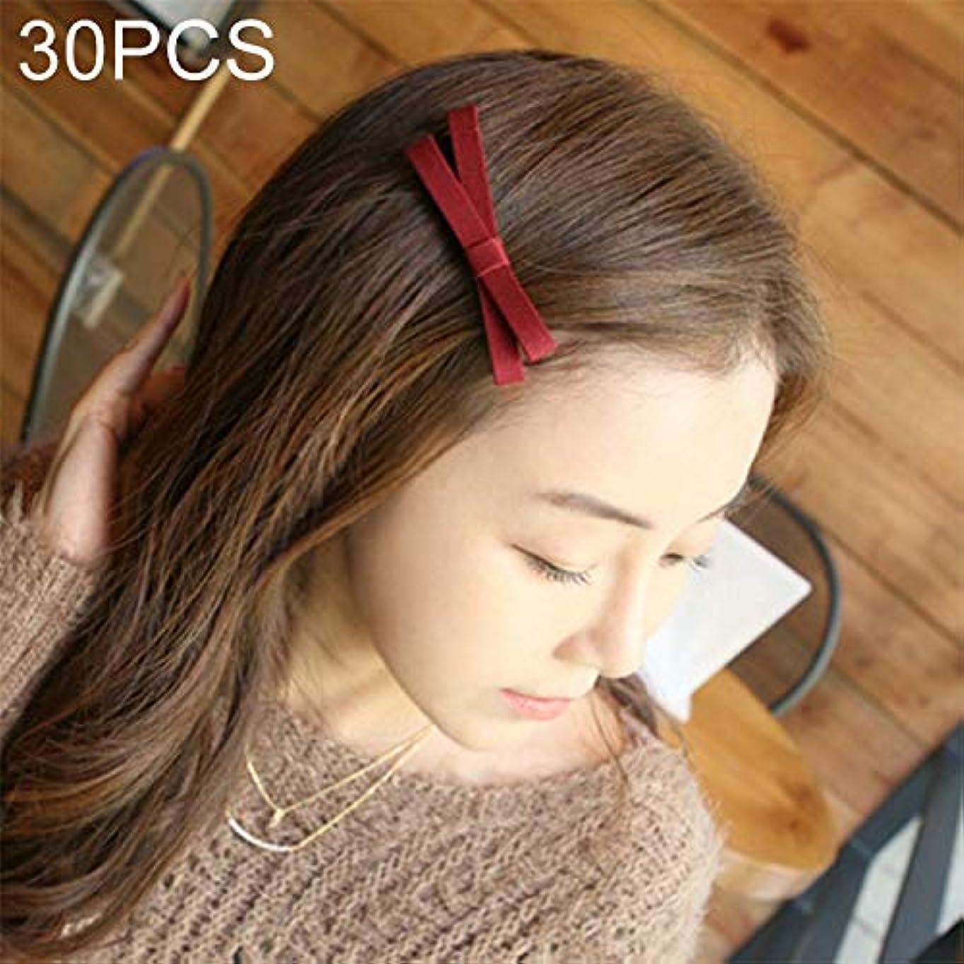 グローバル異なる治世フラワーヘアピンFlowerHairpin YHM 30 PCS布ちょう結びスタイルクロスヘアピンランダムカラー配達