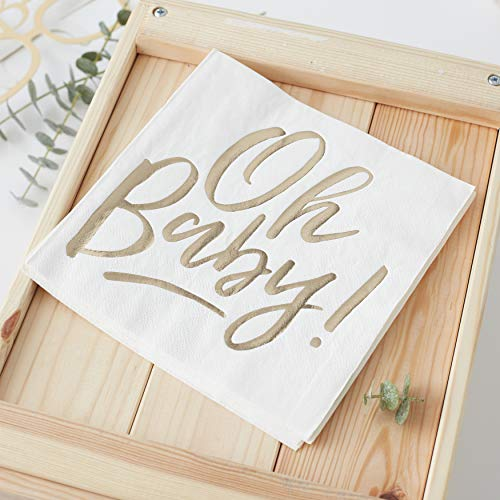 Ginger Ray Gold Foiled Oh Baby Shower 16 Stück, weiß