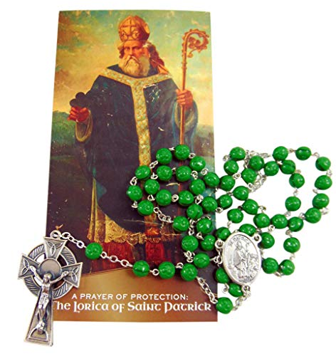Westmon Works St Patrick Rosary Set with Glass Beads and Metal Celtic Crucifix Includes Prayer Pamphlet