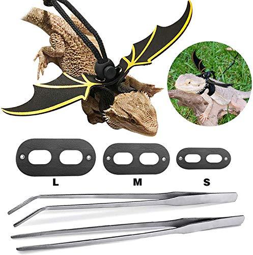 Sayopin Verstellbare Eidechsen Haustier Leine + 2 Stück Reptilien Fütterungszangen aus Edelstahl, Geeignet Für Kleine, Mittlere Und Große Reptilien