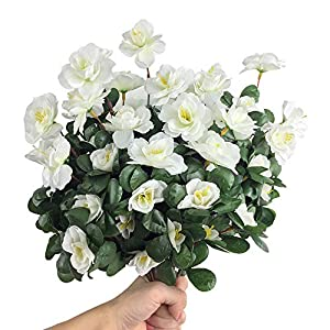 Silk Flower Arrangements Lopkey Outdoor Indoor Silk Flower Artificial Red Azalea Bush,White 4pcs