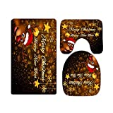 Gold Snowflake and Star Rudolph Reindeer Merry Christmas Bathroom Rugs and Mats Sets 3 Piece, Memory Foam Bath Mat, U-Shaped Contour Shower Mat Non Slip Absorbent, Velvet Toilet Lid Cover Washable