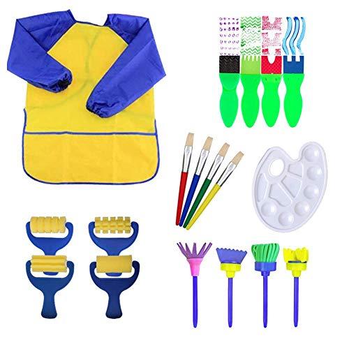 18 pièces pinceaux à éponge pinceaux de peinture lavable brosses artisanales à apprentissage précoce avec palette et tablier rouleaux art diy outils de peinture d'apprentissage précoce d'enfant