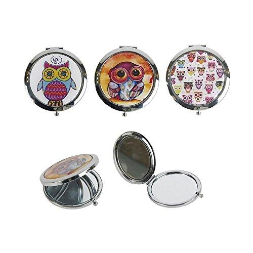 MT 536704 Miroir de poche Chouette miroir en métal 7 cm