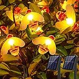 [2 Stück] Solar Lichterkette Aussen, Gesamt 60 LED Bienen Lichterkette 8 Modi Solar Lichterkette Außen IP65 Wasserdichte Solarlichterkette für Outdoor Garten, Bäume, Party, Hochzeit, Terrasse, Haus