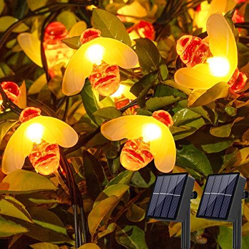 (2 paquetes)Guirnaldas luces exterior solar,8 modos de 16 pies 30 LED guirnaldas...