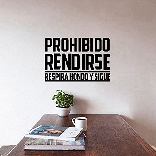 Pegatina inspiradora prohibido rendirse para despachos oficinas salon 56 x 40 cm de OPEN BUY