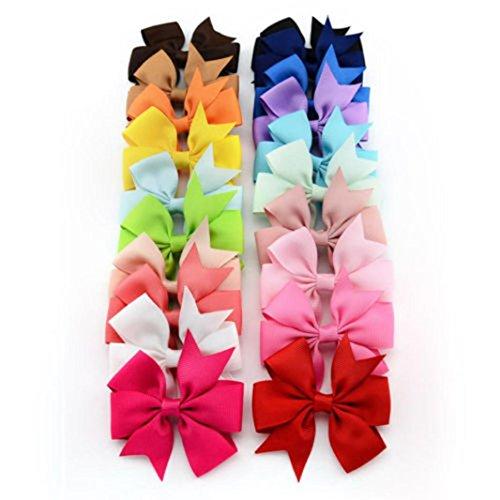 Stirnbänder AMUSTER 20PCS Mädchen Baby Bow Haarclip Bowknot Haarnadel Baby Mädchen Bowknot Haarschmuck für Mädchen Kinder Haarband Stirnbänder (One Size, Mehrfarbig)