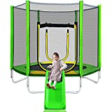LEBEMPEL 7FT Trampoline for Kids with Safety Enclosure Net, Slide and Ladder, Easy Assembly Round Outdoor Recreational Trampoline