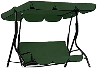 QEES 3 Seater Hammock Cushioned Swing Chair Top Cover, 2-Person Outdoor Swing Canopy Replacement Top Cover, Patio Swing Glider Cover, Lounge Chair Protector Cover JJZ1288 (Green)