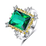 Emsione 925 Sterling Silver Plated Emerald Cut Cubic Zirconia Halo Eternity Ring Band Anniversary Wedding Engagement Ring Size 7 Color Green