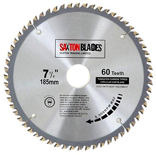 Saxton TCT Circular houten zaagblad 185 mm x 60 Z past Evolution RAGE zagen – bevat 25,4 mm reductie ring