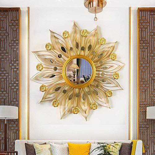 Cakunmik Espejo Decorativo Creativo, Espejo de Hoja de Oro Sol a Mano Espejo Hecho a Mano para Pared Arte único decoración Pared Colgando Sala de Estar decoración Espejo Fondo Pared
