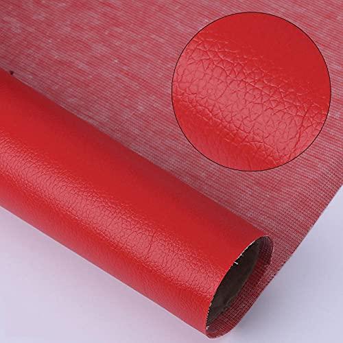 Kit de Parche de Piel,Parches de Piel Cuero Artificial, para Sofá Asientos de Coche Pegatina de Reparación de Polipiel Parches rojo 50X138CM