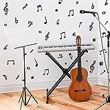 55 Pièces Autocollant Mural de Notes de Musique,DIY Noir Notes de Musique Créatives Stickers Muraux Amovibles en Vinyle pour La Décoration de Studio de Musique de Chambre D'enfants de Classe