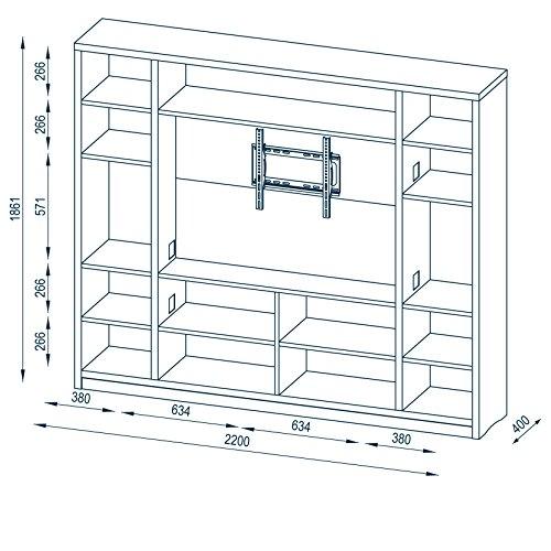 MAJA Raumteiler Wandregal Cableboard 6022 in Weiß 220x186x40cm Bücherregal Wohnwand - 6