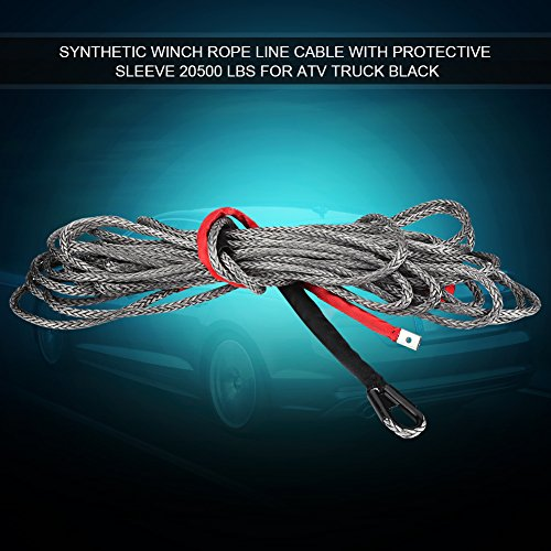 GOTOTOP 20500lbs Cable de Treuil Remorquage Nylon synthétique 10mm*27m avec Douille Protectrice pour Voiture Camion (10mm*27m)