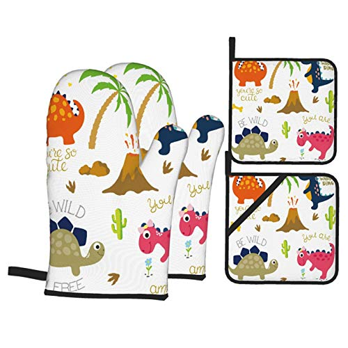 BIBOZHAO Oven Mitts and Potholders 4pcs Sets,Cute Vector Dinosaurs Isolated On White,Heat Resistant Oven Gloves Non-Slip Oven Mitt for Kitchen Cooking Baking BBQ