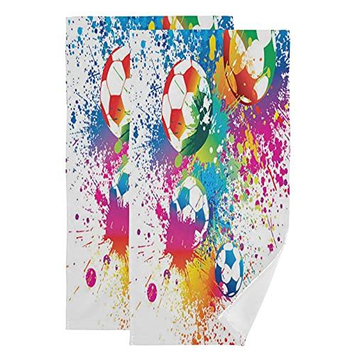 QMIN - Toalla de mano de fútbol y fútbol (2 unidades), diseño de toallas de mano para cocina, baño, yoga, gimnasio, playa, 71,9 x 36,6 cm