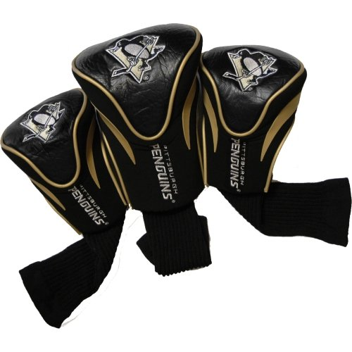 Team Golf NHL Pittsburgh Penguins Contour Golf Club Headcovers (3 Count), Numbered 1, 3, X, Fits Oversized Drivers, Utility, Rescue & Fairway Clubs, Velour Lined for Extra Club Protection
