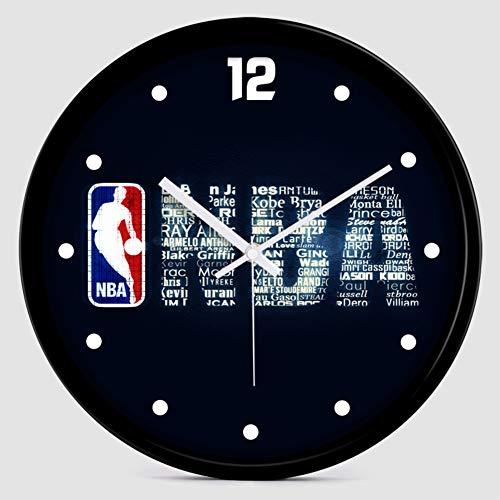 Micaza Reloj De Pared De La NBA, Estilo Deportivo Creativo Reloj Reloj De Cuarzo Silencioso Reloj Mejores Regalos para Los Amantes del Baloncesto Niños Dormitorio-b 10 Inches