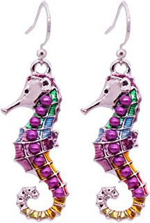 SOURBAN Cute Silver Plated Small Seahorse Fish Drop Earrings with Multicolor Enamel Cloisonne