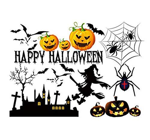 Happy Halloween Pumpkin Bats Spiders Wall Sticker Cartoon Showcase Window Door Background Funny Halloween Home Wall Stickers 66 * 48cm