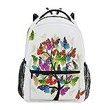 Art Tree With Butterfly Backpack Colorful Spring Butterfly Student School Bag Bookbag 14 inch Laptop Backpacks Travel Daypack Shoulder Bag for Boys Girls Kids