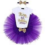 FYMNSI Baby Niña 1/2. / 1. / 2. Cumpleaños Party Outfit Algodón Corto + Tutü + Stirnband 3tlg Fotoshooting Kostüm Color lila. 2 Años