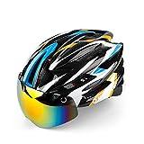 INBIKE Casco de ciclismo para bicicleta con gafas de ciclismo ultraligero integrado moldeado para carretera MTB casco magnético (amarillo+blanco+azul)