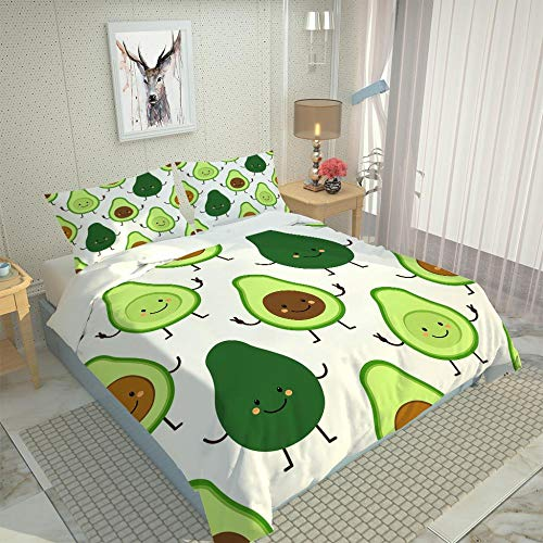 Duvet Cover Single Bed 135 x 200 cm Soft Microfiber Duvet Cover Set Avocado - with 2 Pillow Cases 50 x75 cm with Zipper Closure Bedding Set
