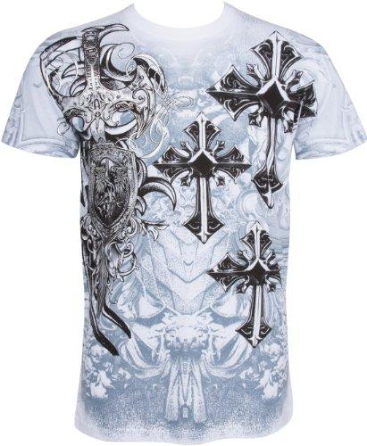 Sakkas TG527T Croix, épée et Bouclier métal métallisé Argent T-Shirt en Relief pour Hommes - Blanc/Grand