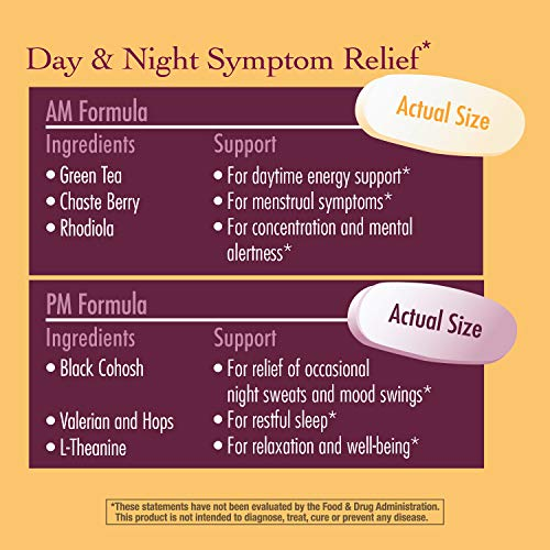 Nature's Way AM/PM PeriMenopause Formula Hormone-Free Day & Night Relief, 30AM & 30PM Tablets
