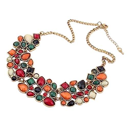 YAZILIND Colorful Necklace Choker Bib Statement Crystal Pendant Collar Chunk Women Gold Plated Chain