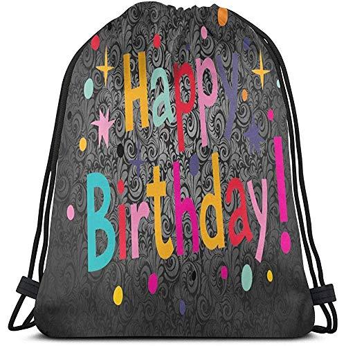 BOUIA Backpack Happy Birthday Mochila con cordón Durable Gran capacidad Ligero Casual Gimnasio Bolsa Cinch Bags Bolsa de almacenamiento portátil