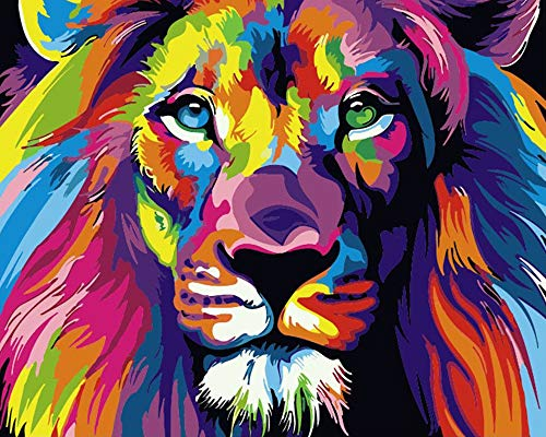 DIY Painting by Numbers for Adults,Paint by Numbers for Kids Ages 8-12 Drawing Animal Paintwork with Paint Brushes 20x16inch (Lion)
