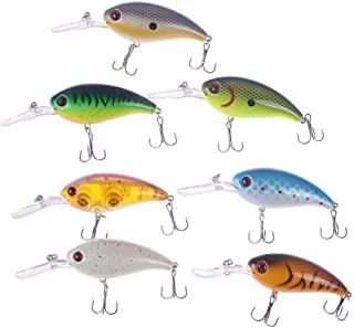 RAYNAG Crankbaits Bass Fishing Lures Set of 7 Small Fishing Baits Topwater Hard Lures, Sharp Treble Hooks for Trout Minnow Popper Walleye Crappie