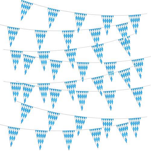 MEJOSER 40pz Triangle Bandierine Triangolari Azzurro Bianco Bandiere Festone Striscione Decorazione Festa della Birra 20 Metri (10m / Stringa)