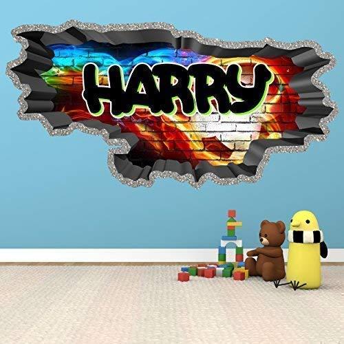 3D Football Soccer Graffiti Personalised Custom Brick Wall Art Sticker Decal for Teenagers Girls and Boys WSDPGN88