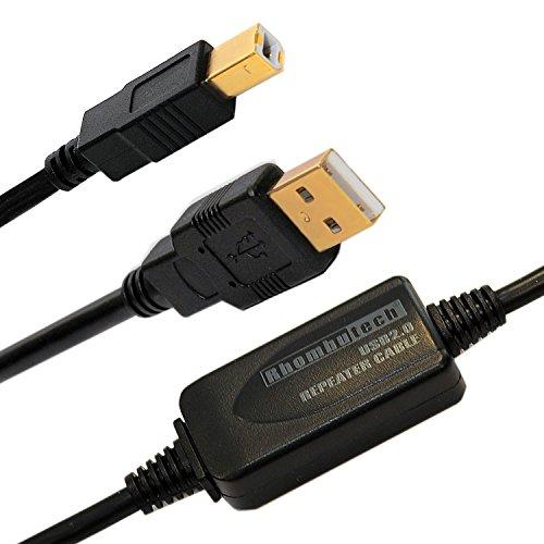 Rhombutech® 15m USB2.0 Anschlusskabel, aktiv mit Signalverstärker, Druckerkabel, A/B USB 2.0 Stecker A auf Stecker B für Brother, HP, Canon, Lexmark, Epson, Dell usw. Vergoldete Kontakte
