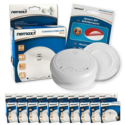 10x Nemaxx WL2 Funkrauchmelder Rauchmelder Brandmelder Set Funk koppelbar vernetzt - nach EN 14604 + 10x Nemaxx NX1 Quickfix Befestigungspad