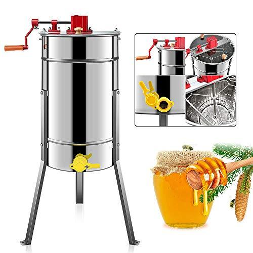 Extractor de miel manual de 4 panales, de acero inoxidable, extractor de miel, recipiente robusto, centrifugadora de miel, salida de caldera de 40 mm