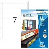 HERMA Etichette per Raccoglitori, 192 x 38 mm, Etichette Adesive A4 per Stampante, 7 Etichette per Foglio, Bianco
