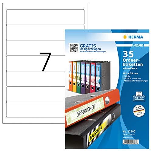 HERMA 12900 Ordnerrücken Etiketten DIN A4 ablösbar, kurz/schmal (192 x 38 mm, 5 Blatt, Papier, matt) selbstklebend, bedruckbar, abziehbare und wieder haftende Ordneretiketten, 35 Klebeetiketten, weiß