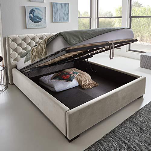 Designer Bett mit Bettkasten ELSA Samt-Stoff Polsterbett Lattenrost Doppelbett Stauraum Holzfuß schwarz (Altweiß, 160 x 200 cm)