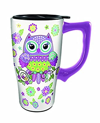 Bright Purple And Green Owl Ceramic Travel Mug