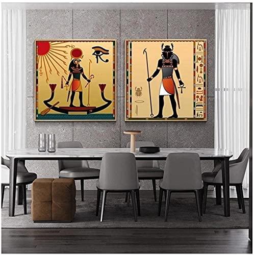 DLFALG Antiguo Egipto Vintage lienzo pintura escarabajo Egipto Dios carteles e impresiones cuadro de arte de pared sala de estar decoración del hogar-50x50cmx2 sin marco