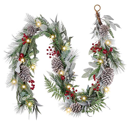 Valery Madelyn Pre-Lit 6 Feet Traditional Red Green Christmas Garland with Lights, Pine Cones, Berries and Artificial Fern Leaves, Battery Operated 20 LED Lights
