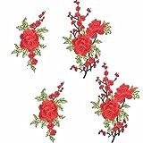 4pcs Rose Embroidery,Broderie Vêtements Motif Brodé Applique Couture Repassage, Craft Applique Patches Badges pour T-shirt Jeans Décoration